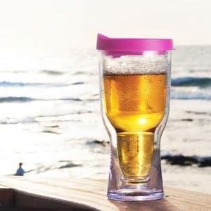 Nezničitelná sklenice na pivo Brew2Go, růžová