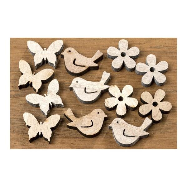 Sada 36 dřevěných dekorací ve tvaru ptáčků a motýlů Boltze