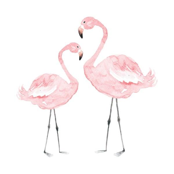 Autocolant pentru perete Dekornik Flamingos, 110 x 110 cm