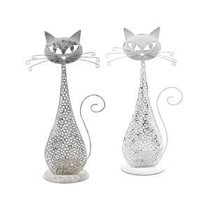 Sada 2 malých kovových svícnů ve tvaru kočky EgoDekor, 15x27,5 cm