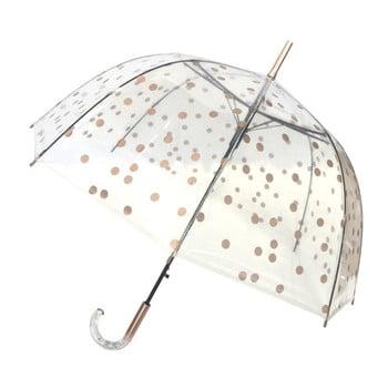 Umbrelă Ambiance Bridcage Dots, 85 cm, transparent cu detalii aurii de la Ambiance