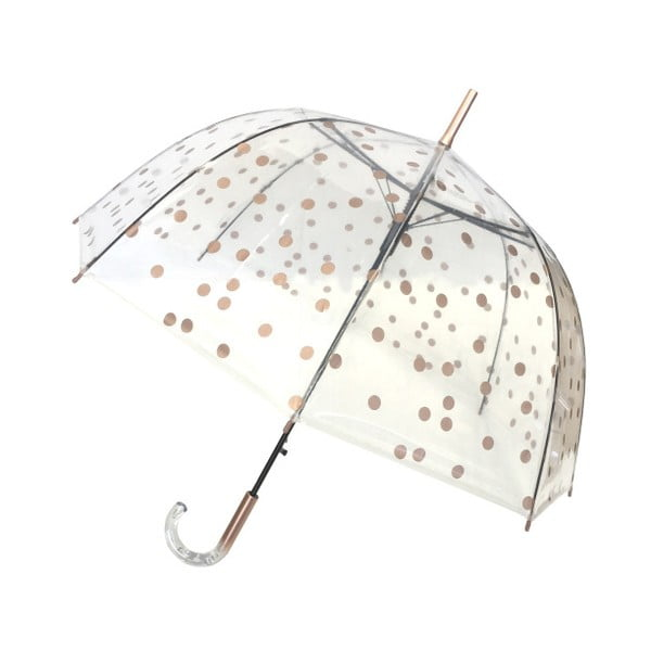 Transparentný tyčový dáždnik s detailmi vzlatej farbe Ambiance Birdcage Dots, ⌀85 cm