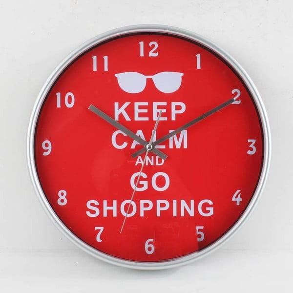 Nástěnné hodiny Keep Calm Red