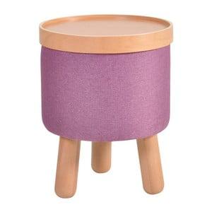 Fialová stolička s detaily z bukového dřeva a odnímatelnou deskou Garageeight Molde, ⌀35cm