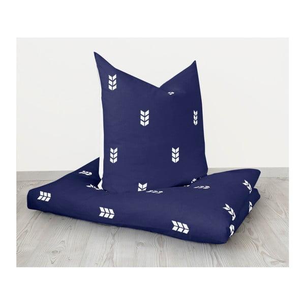 Lenjerie de pat Hawke&Thorn Finch, 155 x 220 cm + față de pernă 80x80cm, albastru