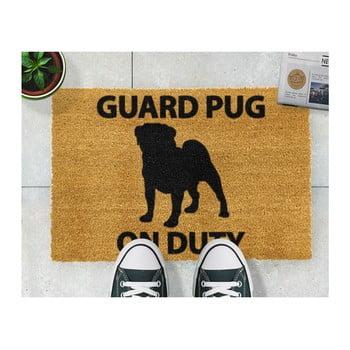 Covoraș intrare din fibre de cocos Artsy Doormats Guard Pug 40 x 60 cm