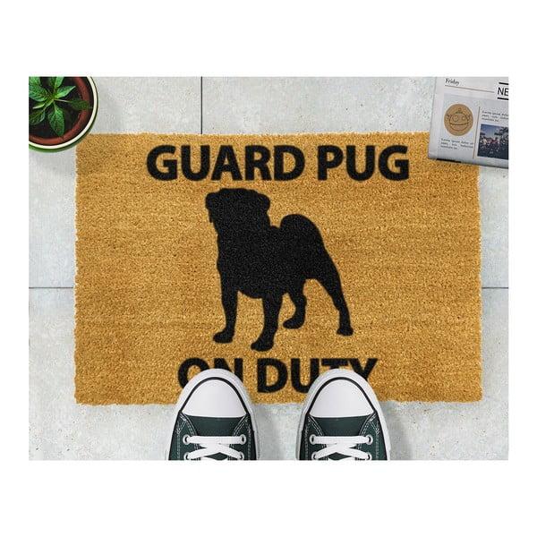 Wycieraczka z naturalnego kokosowego włóknaArtsy Doormats Guard Pug, 40x60 cm