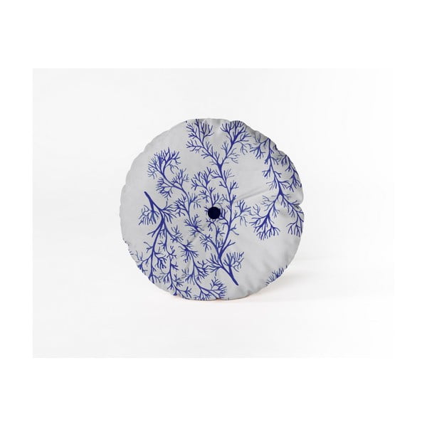 Kulatý dekorativní polštář se sametovým potahem Velvet Atelier Sea, ⌀ 45 cm