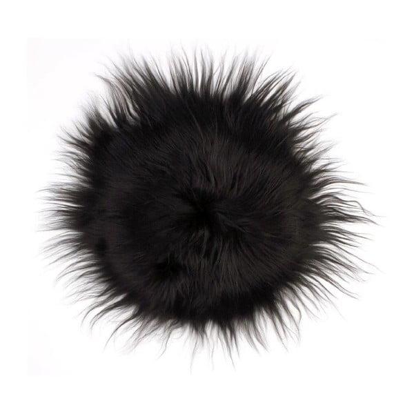Podsedák z ovčí kožešiny Iceland Black, 35 cm