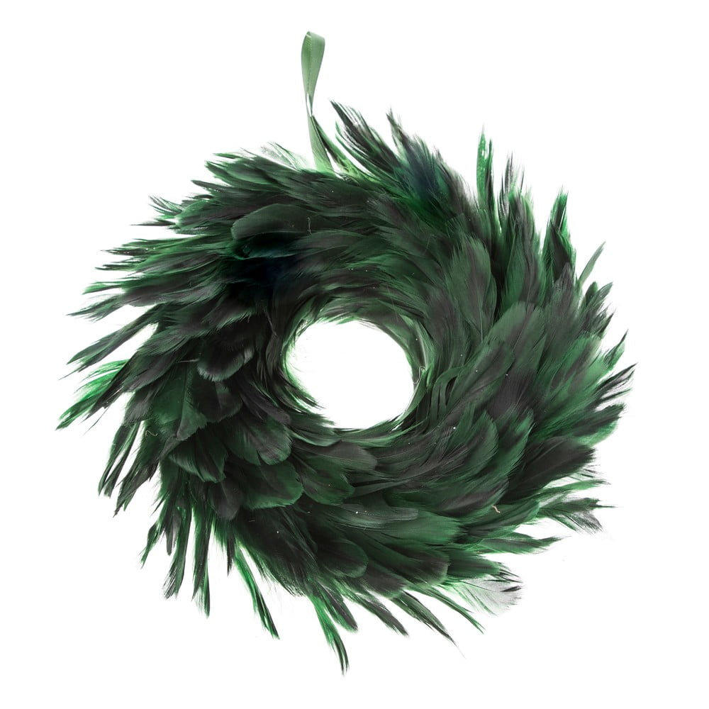 Zelený věnec z peří Dakls, ø 14 cm