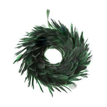 Coroniță de Crăciun cu pene Dakls, ø 14 cm, verde imagine