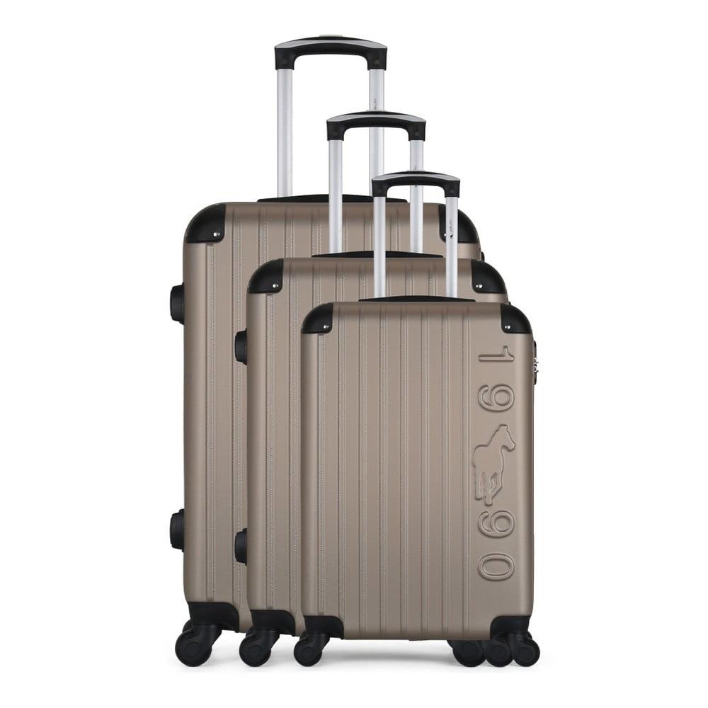 Sada 3 hnědobéžových cestovních kufrů na kolečkách GENTLEMAN FARMER Cadenas Integre