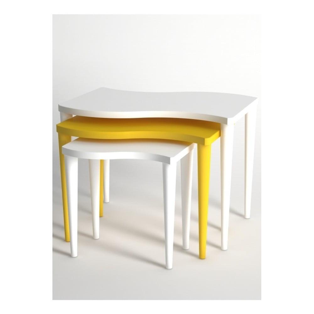 Sada 3 konferenčních stolků v bílé a žluté barvě Monte Gofrato