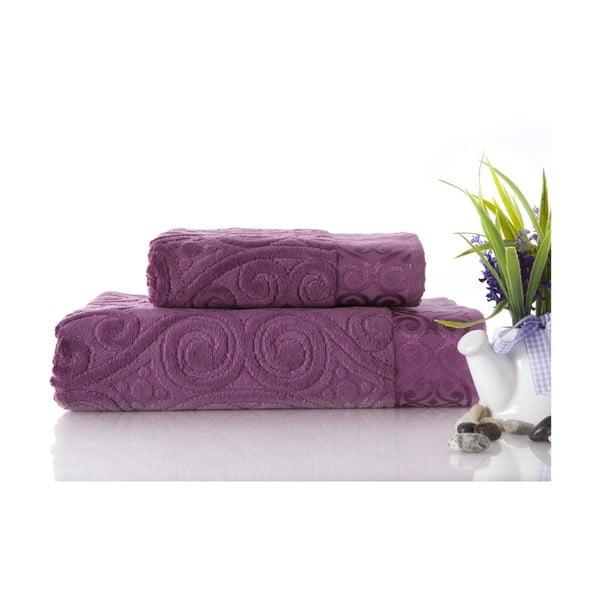 Set dvou ručníků Hanzade Plum Color, 70x140 a 50x90 cm