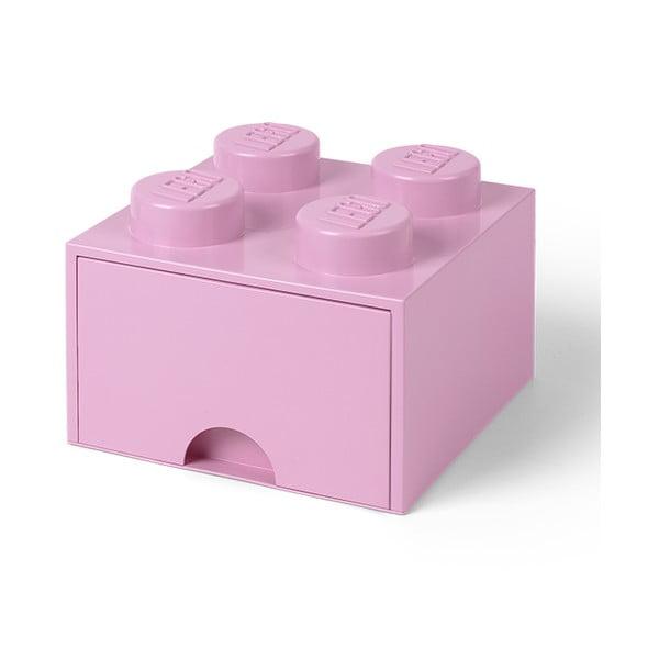Cutie pătrată pentru depozitare LEGO®, roz deschis