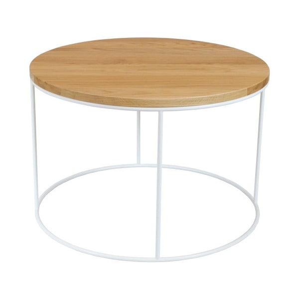 Bílý konferenční stolek s deskou z dubového dřeva take me HOME Elk, ⌀60cm