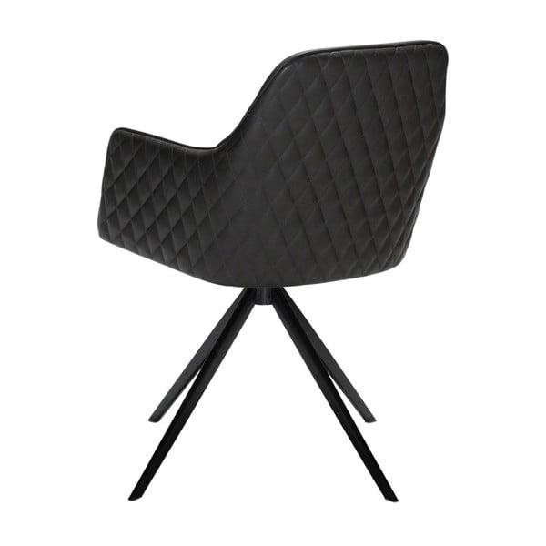 Antracitově šedá jídelní židle s područkami DAN-FORM Denmark Twine
