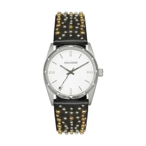 Dámské hodinky s koženým černým páskem a bílým ciferníkem Zadig & Voltaire Vintage