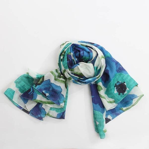 Šátek s motivem květin, modrá