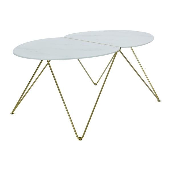Ant aranyszínű dohányzóasztal, márvány mintás lappal - RGE