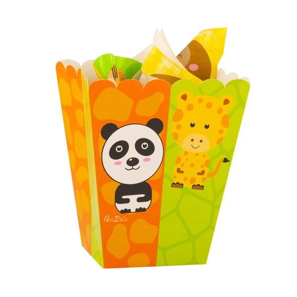 Zestaw 4 papierowych pudełek na popcorn GiviItalia Zoo Party, wys. 15 cm