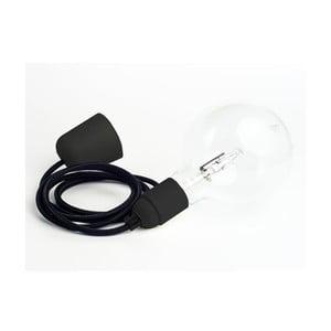 Barevný kabel Loft se žárovkou, černý tulipán s černou objímkou