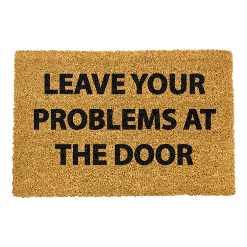 Rohožka z přírodního kokosového vlákna Artsy Doormats No Problems,40x60cm