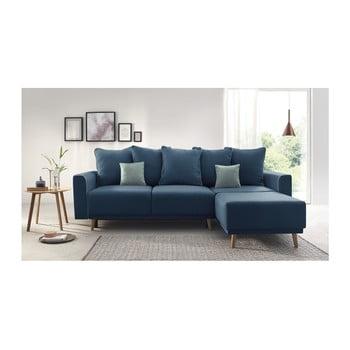 Canapea extensibilă, cu șezlong pe partea dreaptă Bobochic Paris Mola, albastru închis de la Bobochic Paris