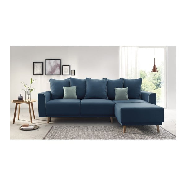 Canapea extensibilă, cu șezlong pe partea dreaptă Bobochic Paris Mola, albastru închis