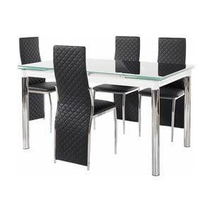 Set jídelního stolu a 4 černých jídelních židlí Støraa Pippa William Puro Black