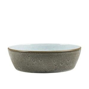 Šedá kameninová mísa s vnitřní glazurou v bledě modré barvě Bitz Mensa, průměr 18 cm