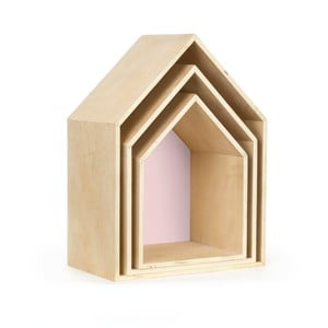 Sada 3 růžových poliček ve tvaru domku Little Nice Things Casa