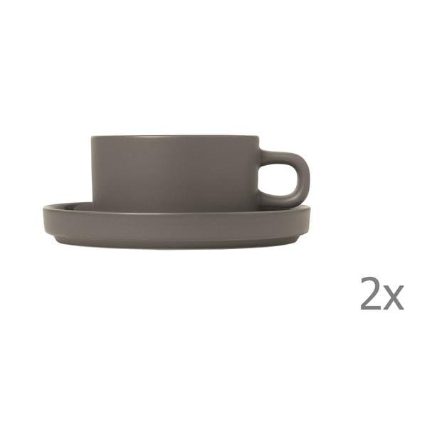 Sada 2 sivých hrnčekov na čaj Blomus Pilar,170 ml