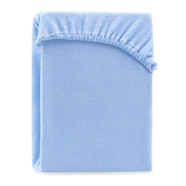 Světle modré elastické prostěradlo na dvoulůžko AmeliaHome Ruby Light Blue, 200-220 x 200 cm