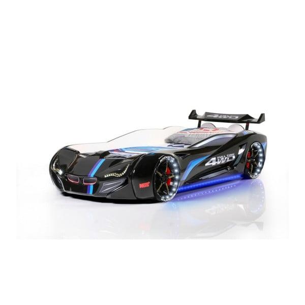Pat în formă de automobil cu lumini LED pentru copii Fastero, 90 x 190 cm, negru