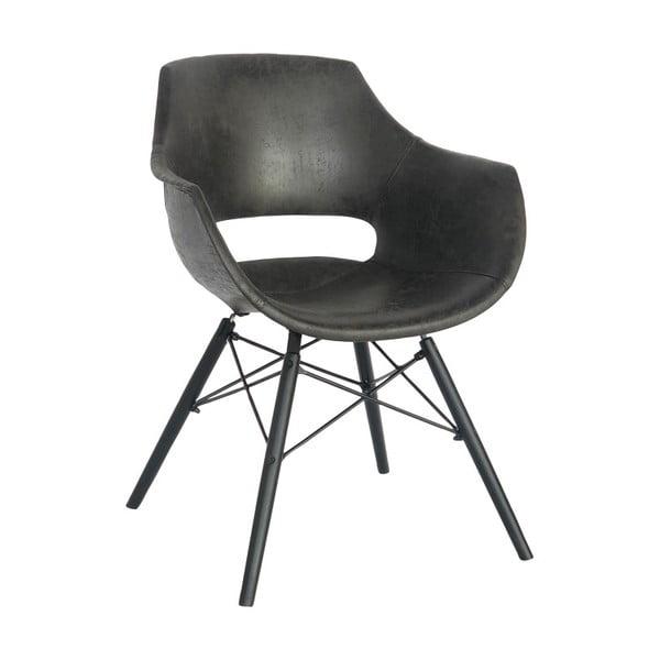Ciemnoszare krzesło z podłokietnikami Canett Blues