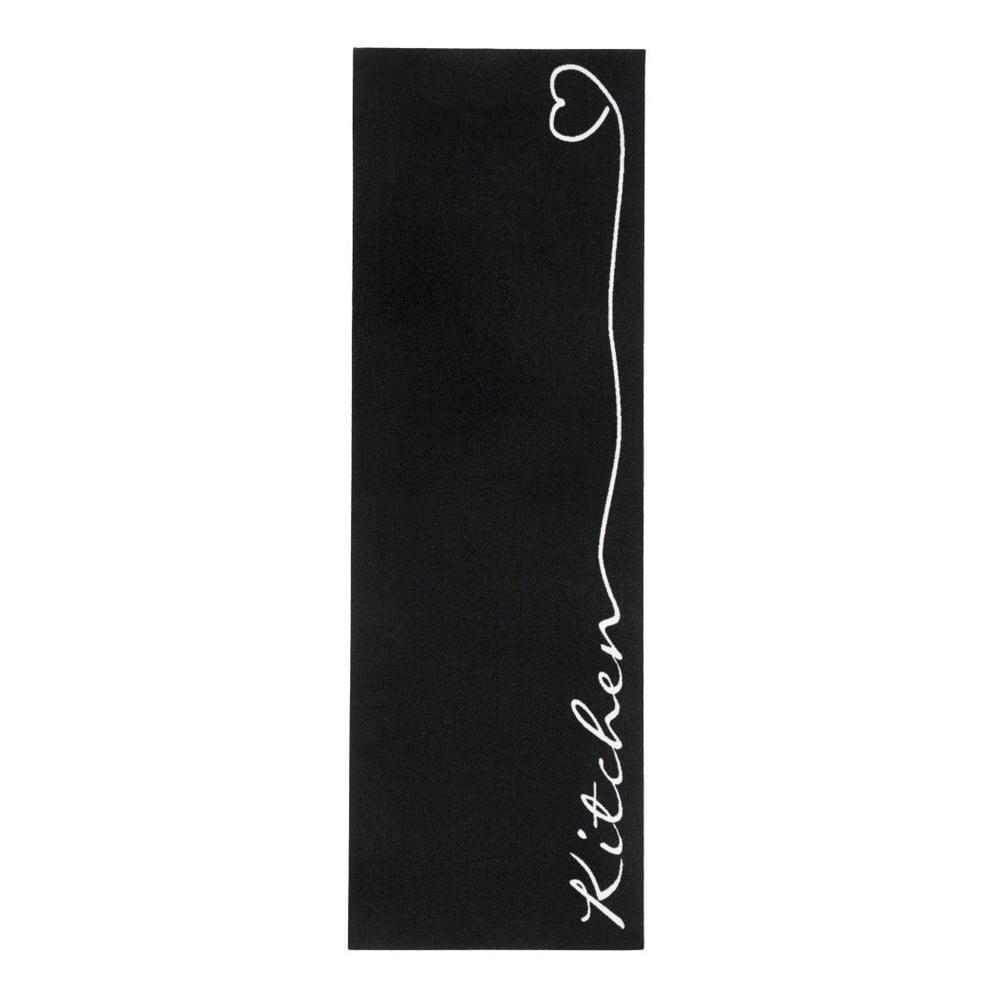 Černý kuchyňský koberec Zala Living Kitchen, 50 x 150 cm