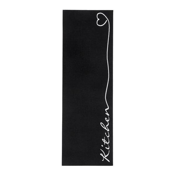 Černý kuchyňský koberec Zala LivingKitchen, 50x150cm