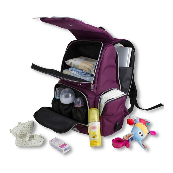Rucsac maternitate cu port USB My Valice MOTHER STAR Baby Care, roz