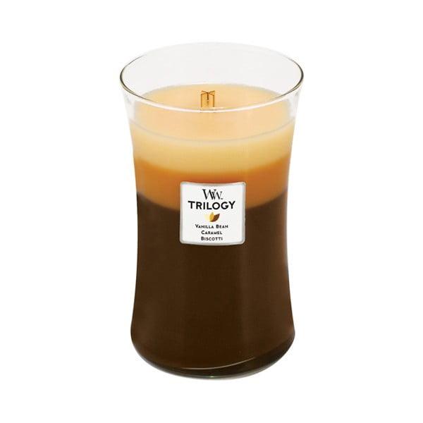 Svíčka s vůní cukroví, vanilky a karamelu WoodWick Trilogy Dezert v kavárně, dobahoření130hodin
