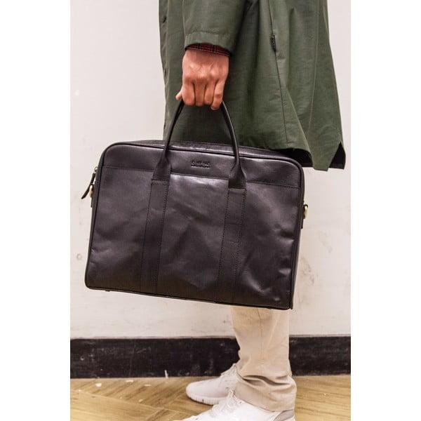 Kožená taška na notebook The Harvey, černá