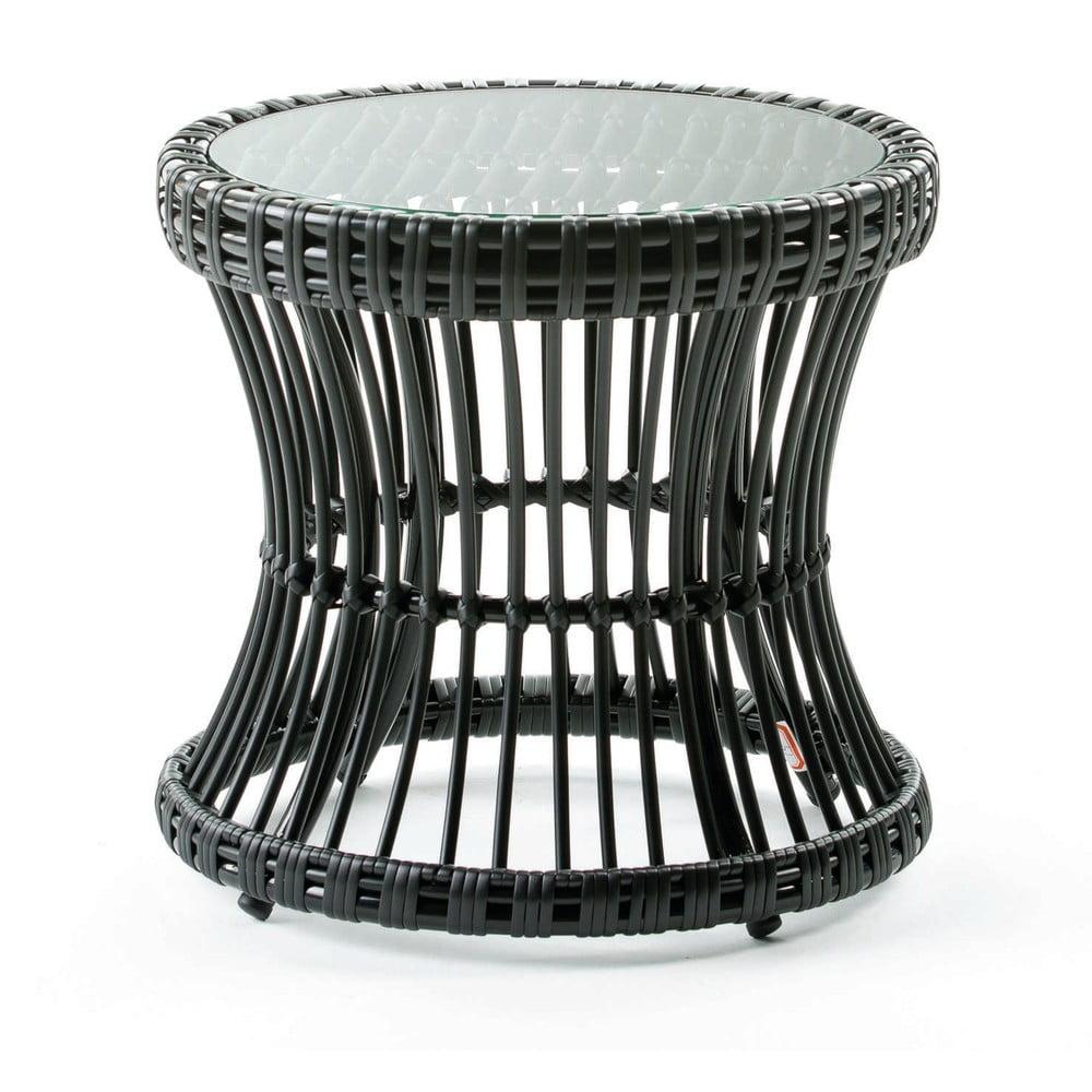 Černý odkládací se skleněnou deskou stolek Thai Natura, ∅42cm