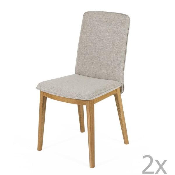 Sada 2 jídelních židlí s podnožím z dubového dřeva Woodman Adra Naturo Light