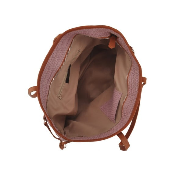 Růžová kožená kabelka Florence Merga