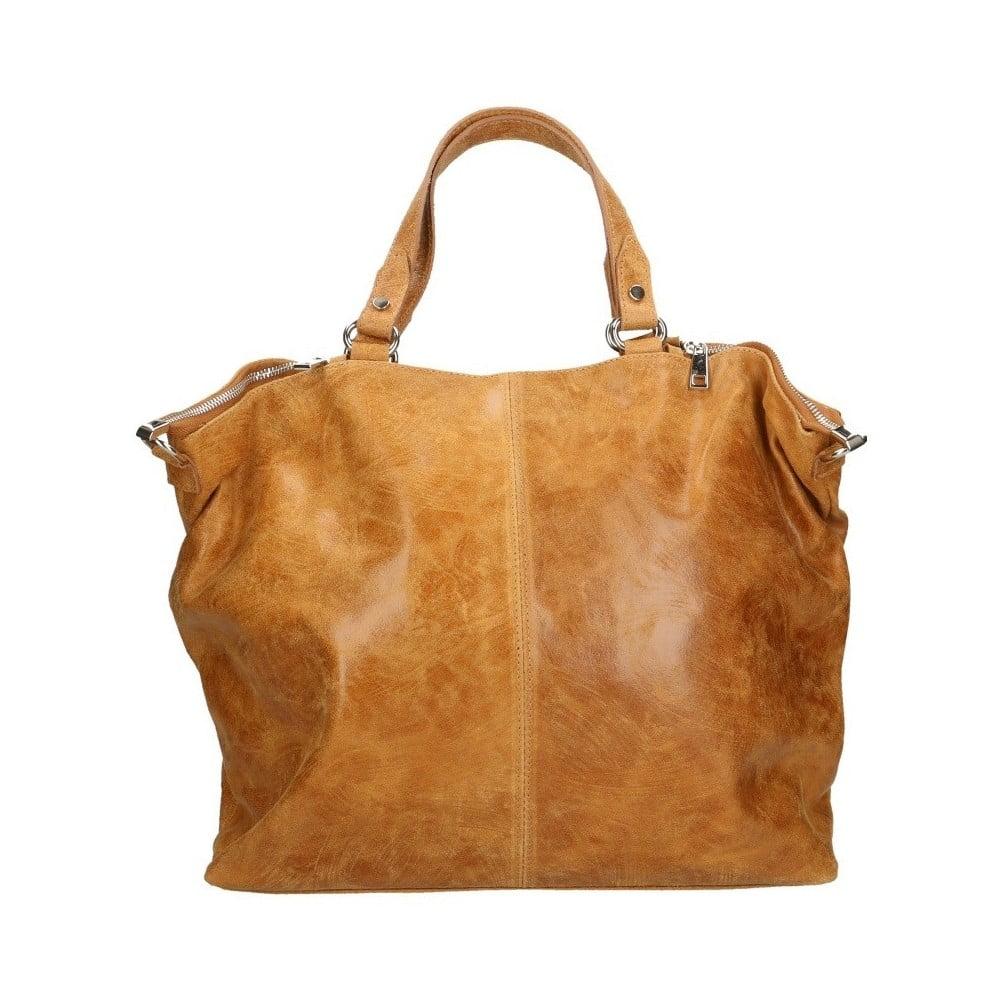 Koňakově hnědá kožená kabelka Chicca Borse Terracia cb89b7718ad