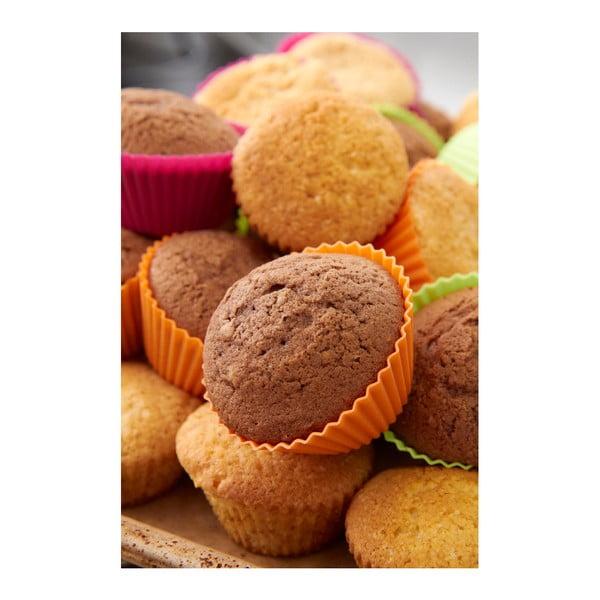 Sada 6 barevných silikonových forem na muffiny Lékué
