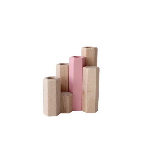 Růžový stojan na svíčky z masivního bukového dřeva HARTÔ