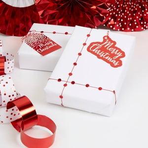Sada 10 červených vánočních papírových visaček na dárky Neviti Merry Christmas Red & White Dots