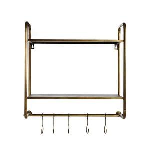 Nástěnný věšák s kovovou konstrukcí ve zlaté barvě Simla Rack