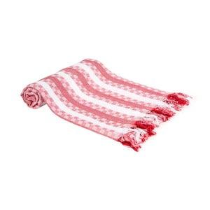 Červená ručně tkaná osuška Ivy's Hande, 100x180cm